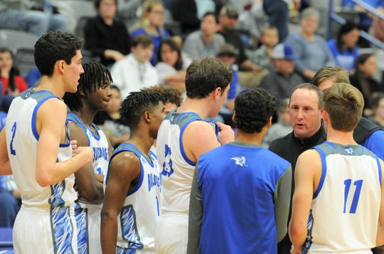 Stamford boys basketball coach Dean Edwards talks to his team during a timeout against Haskell on Jan. 17. Edwards led the Bulldogs to an undefeated District 8-2A title and a 26-8 overall record to be named 2019-20 ARN Class 2A All-Big Country boys basketball Coach of the Year.