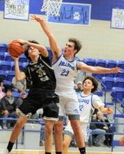 Stamford's Trace Price goes up to block a Haskell shot during the season. Price averaged 12.9 rebounds per game to go with 9.6 points and 1.2 steals to be named the 2019-20 ARN All-Big Country Sixth Man of the Year.