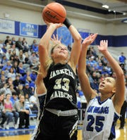 Haskell sophomore Emma Roewe goes for a shot against Stamford on Friday, Jan. 17, 2020, at Stamford High School.