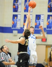 Stamford post Austin Brewer wins a tipoff over Haskell on Friday, Jan. 17, 2020, at Stamford High School.