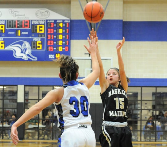 Haskell sophomore Melody Martinez (15) shoots a 3-pointer as Stamford's Citlaly Gutierrez closes in on defense Jan. 17 at Stamford High School.
