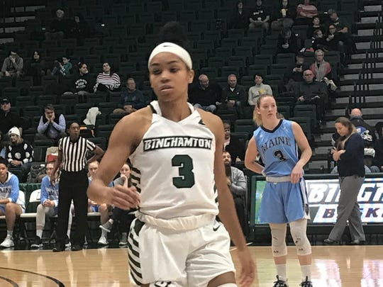 Binghamton University's Kai Moon scored 26 points Saturday to help the Bearcats to a 73-63 victory over the University of Maine at the Events Center.