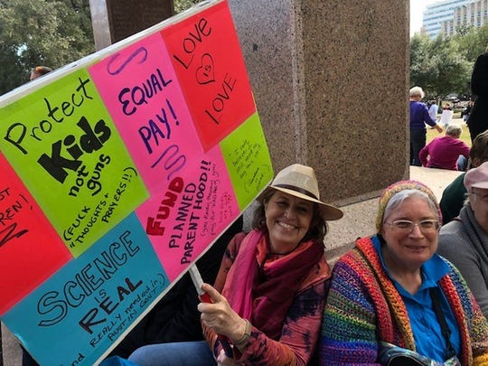 Karen Dampeer and Susan Gilmore at the Women's March in Austin, Jan. 18. 2020.