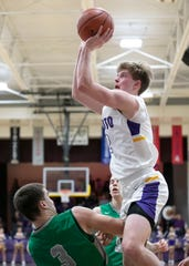 Unioto's Cam DeBord shoots the ball during a 60-34 win over Huntington Friday night at Unioto High School on Jan. 17, 2020.