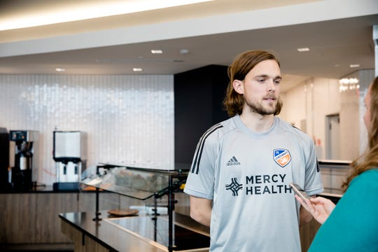 FC Cincinnati defender Tom Pettersson speaks to reporters at FC Cincinnati pre spring training media event on Saturday, Jan. 18, 2020, at the Mercy Health Training Center in Milford.