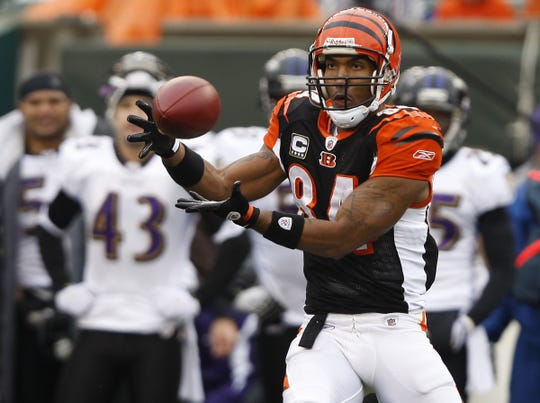 November 30, 2008:  The Cincinnati Bengals T.J. Houshmandzadeh makes a second-quarter touchdown against the Baltimore Ravens at Paul Brown Stadium.