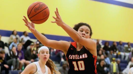 Loveland forward Jillian Hayes (10) grabs a rebound during the Tigers 68-58 loss to Walnut Hills , Saturday, Jan. 18, 2020.