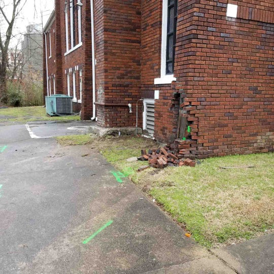 A man died after crashing his car into the First United Methodist Church on Madison Street on Friday, Jan. 17, 2020.