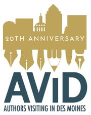 20th anniversary logo for Authors Visiting in Des Moines