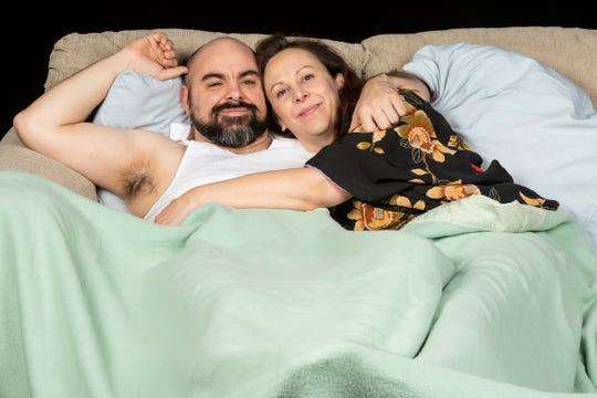 """Patrick Loos and Krista Schafer Ewbank in Open Book Theatre's """"Frankie and Johnny in the Clair de Lune."""""""