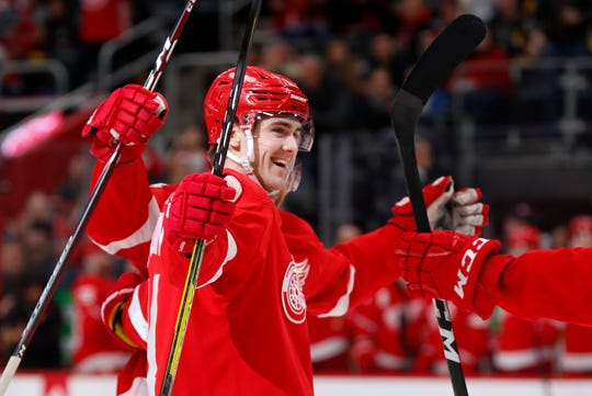 Detroit Red Wings right wing Filip Zadina celebrates his goal against the Pittsburgh Penguins in the second period Friday, Jan. 17, 2020, in Detroit.
