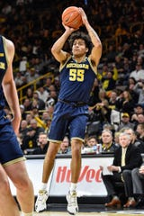 Michigan guard Eli Brooks shoots against Iowa during the first half Jan. 17, 2020 in Iowa City, Iowa.