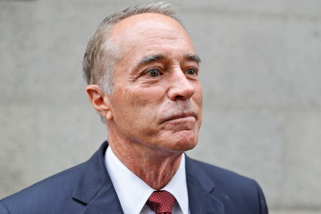 U.S. Rep. Chris Collins, R-N.Y., speaks to reporters as he leaves the courthouse after a pretrial hearing in his insider-trading case, Thursday, Sept. 12, 2019, in New York.