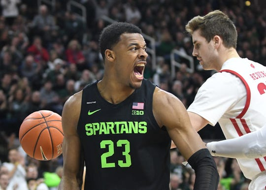 """Mostly, they're gonna have to go through the wars and they're going to have to experience it,"" says MSU junior Xavier Tillman about younger Spartans playing in hostile environments."
