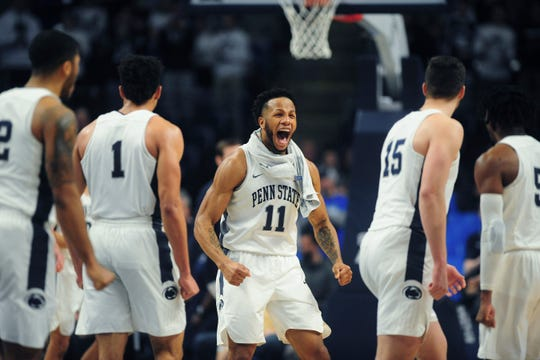 Penn State's Lamar Stevens (11) finished with 24 points in the Nittany Lions' 90-76 win over Ohio State Saturday.