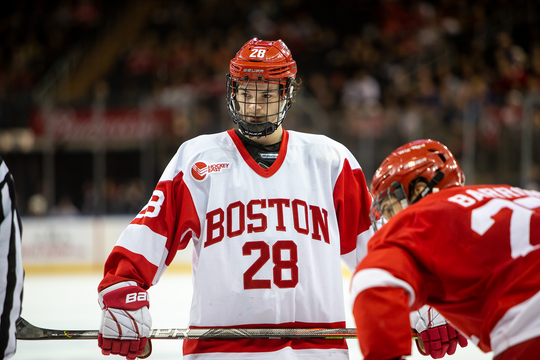 Red Wings draft pick Ethan Phillips has seven points in 19 games in his freshman season with Boston University.