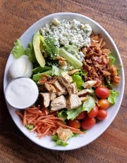 A cobb salad with buttermilk-marinated grilled chicken at Damsel Brew Pub.