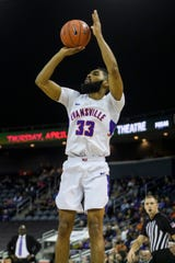 Evansville's K.J. Riley (33) makes a jump shot during the first half against the Missouri State Bears at Ford Center in Evansville, Ind., Saturday, Jan. 18, 2020.