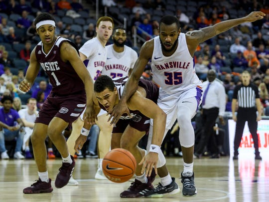 Missouri State's Gaige Prim (44) and Evansville's John Hall (35) race towards a loose ball during the first half at Ford Center in Evansville, Ind., Saturday, Jan. 18, 2020.