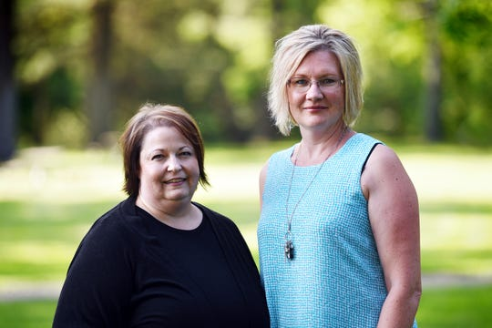 Stillwater Christian School parents Jeri Anderson and Kendra Espinoza at Woodland Park in Kalispell in 2019.