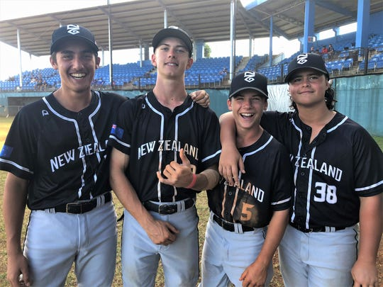 New Zealand U-15 baseball players are, from left, Zak Ryan, Emile Nel, Luke Devine and Keeghan Mullen-Pichi. All say that Guam is a great place to play baseball and hit the beach.