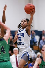 Heritage Christian Ariana Wiggins (12) drives in for a lay up during the Cathedral vs Heritage Christian Girls High School City Varsity Basketball Tourney held at Cathedral High School, January 18, 2020.