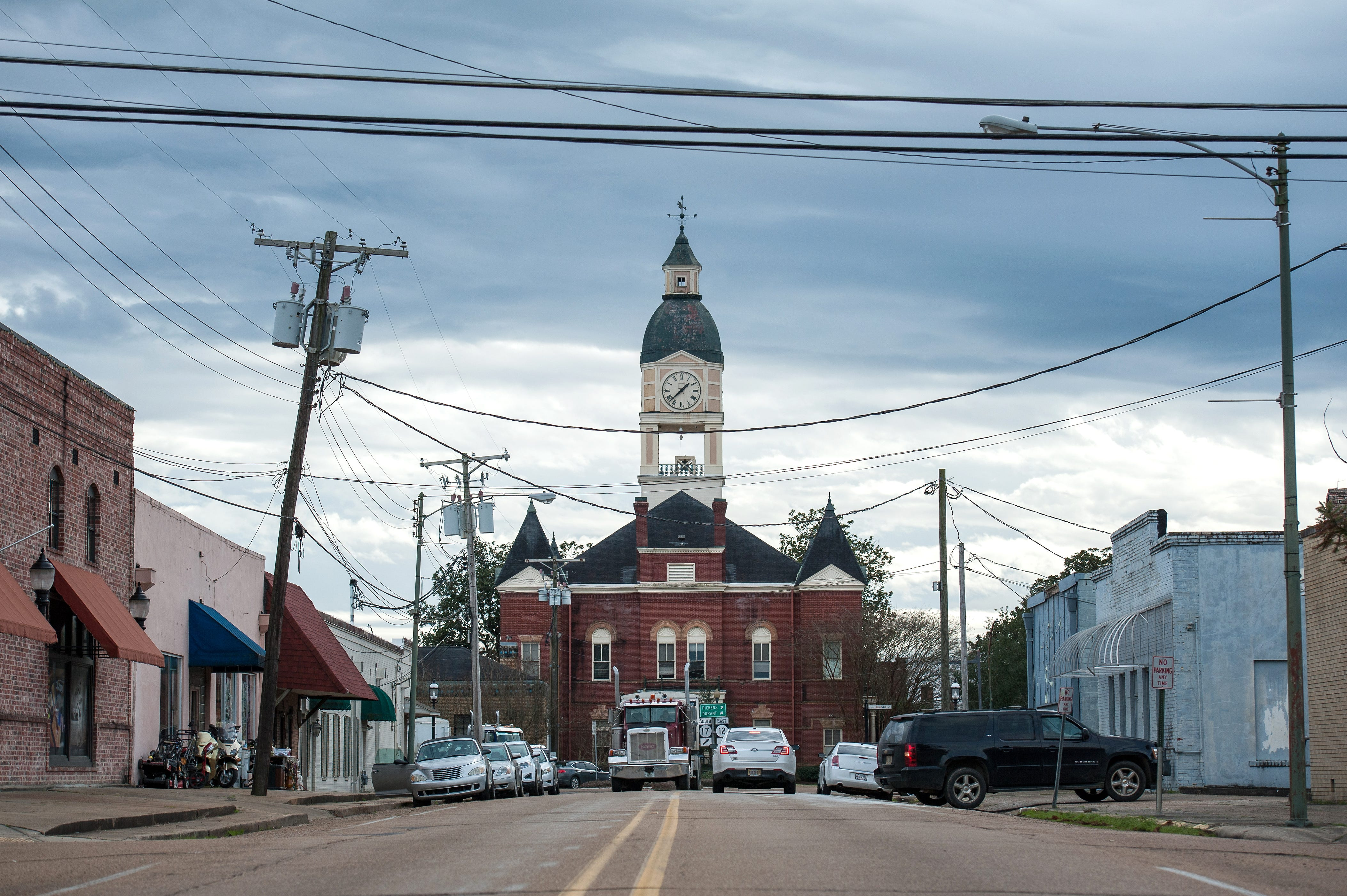 The town square anchors downtown Lexington. Despite the county's prominent role in the Civil Rights Movement, mom and pop shops often see little foot traffic from tourists.