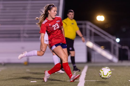 Paige Broussard passes the ball as Teurlings Catholic takes on STM girls soccer.  Friday, Jan. 17, 2020.