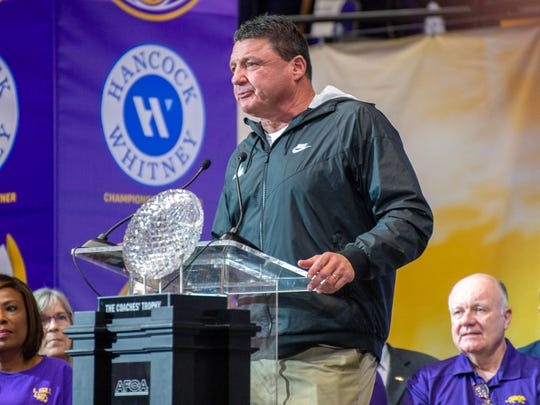 LSU coach Ed Orgeron speaking after the school held a parade and celebration on campus to celebrate its college football national title Saturday, Jan. 18, 2020.