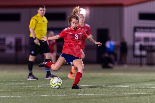 Emily Sonnier passes the ball Teurlings Catholic takes on STM girls soccer.  Friday, Jan. 17, 2020.