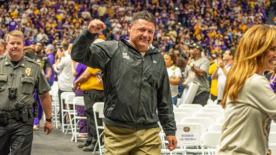 LSU Head Football coach Ed Orgeron walking into the Maravich Center at LSU Saturday, Jan. 18, 2020.