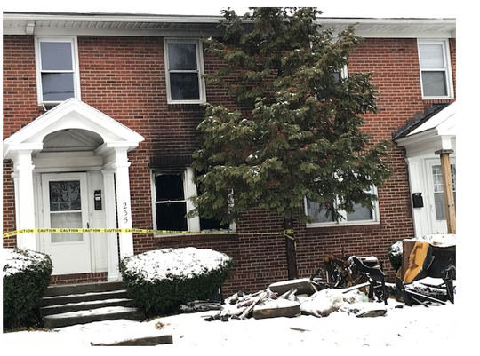 A fire displaced three adults and two children early Saturday morning at 235 W. First St.