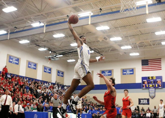 Brookfield Central forward David Joplin soars for a dunk against Sussex Hamilton during a game on Jan. 17, 2020.