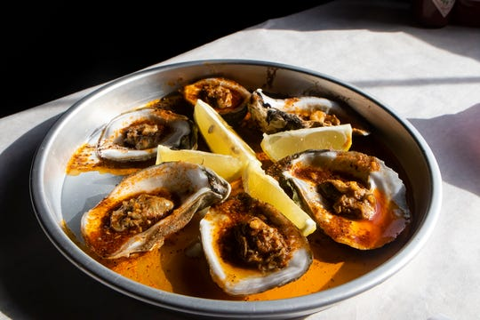 Steamed oysters from The Mighty Crab seafood restaurant in Monroe, La.