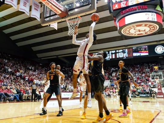 Jan 18, 2020; Tuscaloosa, Alabama, USA; Alabama Crimson Tide forward Herbert Jones (1) goes to the basket against Missouri Tigers at Coleman Coliseum. Mandatory Credit: Marvin Gentry-USA TODAY Sports