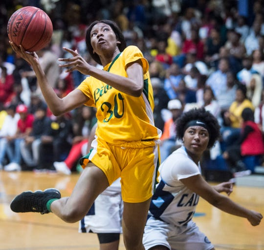 Central-Hayneville Derrica McCall (30) goes up for a layup at Calhoun High School in Letohatchee, Ala., on Saturday, Jan. 18, 2020.