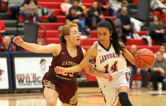 Senior reserve guard Yasmin Chaparro (14) helped keep the Lady 'Cats in front during Friday's 23-point win over Gadsden High.