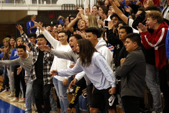 Carlsbad's student section reacts to Riley Hestand's third-straight 3-pointer to start out the game against Artesia on Jan. 17, 2020. Artesia won in overtime, 57-51, denying Carlsbad a season sweep.