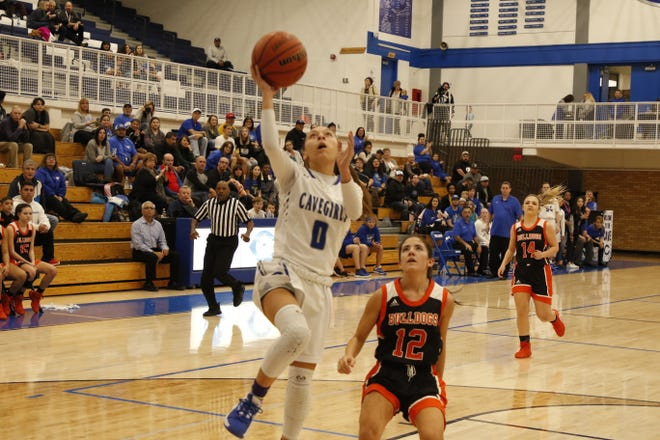 Carlsbad's Baylee Molina goes for a fastbreak layup against Artesia on Jan. 17, 2020. Carlsbad won, 55-20 and swept the Eddy County War series.