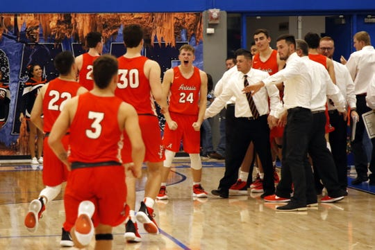 Artesia's Jacob Creighton (24) reacts after the final buzzer in Friday's game against Carlsbad. Artesia beat Carlsbad in overtime, 57-51, denying Carlsbad a season sweep.