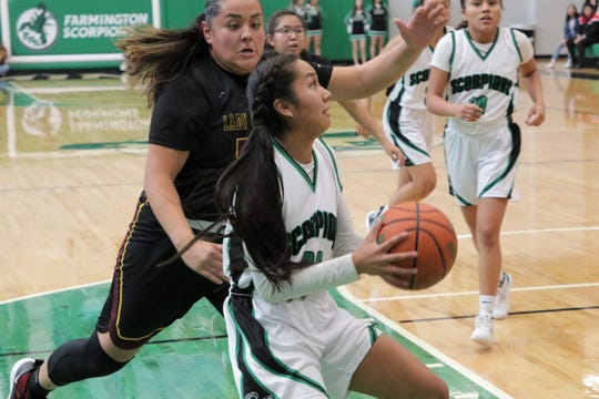 Farmington's Kiiyani Anitielu, seen here playing against Tohatchi on Saturday, Jan. 11, 2020, at Scorpion Arena in Farmington, is among several players to watch as District 2-5A girls basketball gets underway.