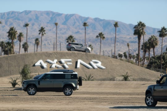 Festivalgoers partake in Land Rover test drives at 4xFar Music and Adventure Festival at Empire Grand Oasis in Thermal, Calif. on Saturday, Jan. 18, 2020.