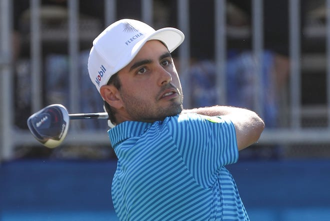 Abraham Ancer tees off on the ninth hole of the Stadium Course at PGA West in La Quinta, during the American Express golf tournament, January 18, 2020.