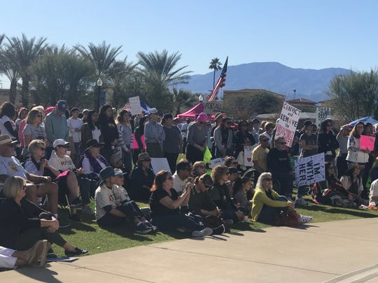 Over 300 women and allies attended the Women's March at the Veterans' Memorial Park in Coachella, Calif. on Jan. 18, 2020.
