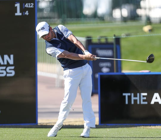 Andrew Landry tees off on the first hole of the Nicklaus Course at PGA West in La Quinta, during the American Express golf tournament, January 18, 2020.