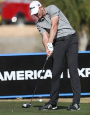 Brendan Steele tees off on the 18th hole of the Stadium Course at PGA West in La Quinta, during the American Express golf tournament, January 18, 2020.