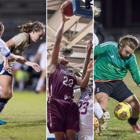 From left, Savannah Jacobi from Gulf Breeze, Isaiah Gaines from Pensacola and Korey Betts from Navarre are among this wek's nominees for PNJ Athlete of the Week.