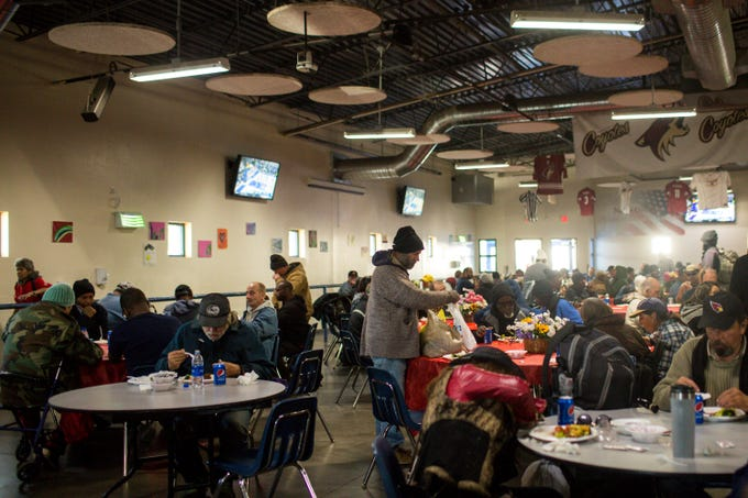 The Chinese Restaurant Association fed about 1,000 people experiencing homelessness Saturday, Jan. 18, 2020, at St. Vincent De Paul's dining room.
