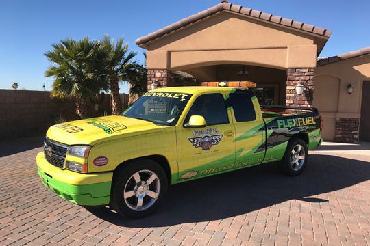 """This pickup was one of four pace trucks used in the General Motors """"Live Green Go Yellow"""" campaign during the 2006 NASCAR Craftsman Truck Series and in promotions with the 2005 NASCAR Nextel Cup Champion, Tony Stewart."""