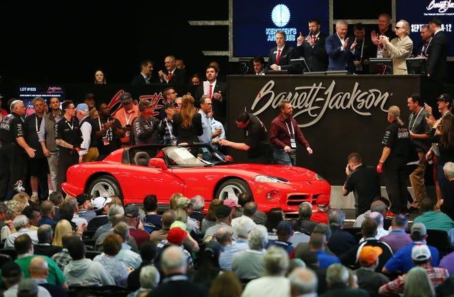 John Elway sold his 1992 Dodge Viper RT/10 Roadster for $80,000 at Barrett-Jackson on Jan. 17, 2020, in Scottsdale.